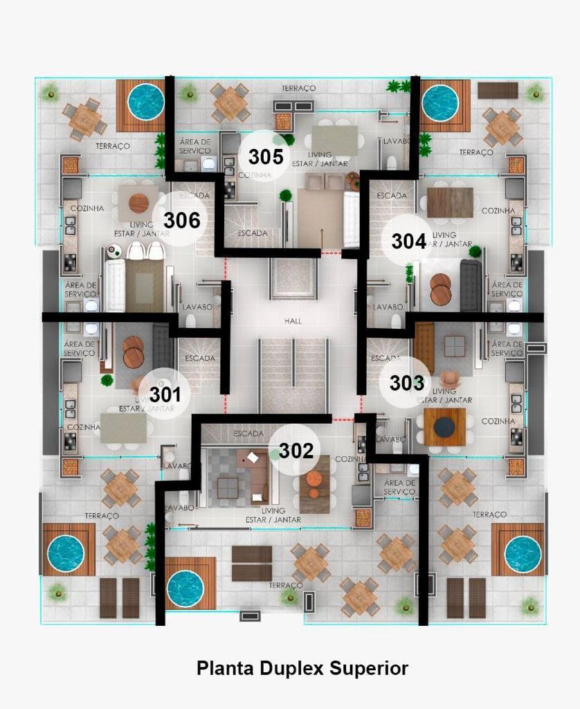 Cobertura Duplex - pavimento superior